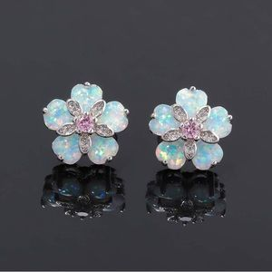 Flower Opal Earrings Stud Topaz Zircon Rhodium